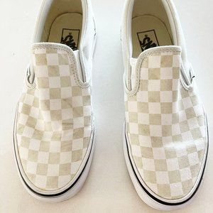Vans Slip-on Tan/green Checkerboard 8.5